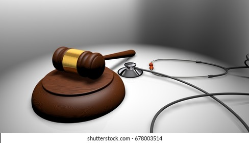 Concept of health in the justice. Judge's gavel or ceremonial mallet and stethoscope on white table. 3D Rendering.