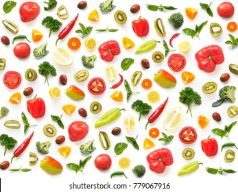 The concept of healthy eating. Pattern composition from vegetables and fruits, top view. Food background, wallpaper. Tomatoes, pepper, lemon, kiwi, basil, parsley isolated on white background.