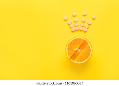 The concept of healthy eating, supplement. Vitamin C is the main vitamin, the king among vitamins. Fitness, flat lay