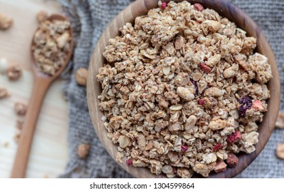 Concept of healthy eating, vegan food, healthy food. Top view. musli and granola. close up.