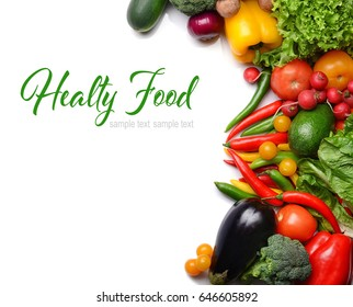 Concept of healthy food. Fresh vegetables on white background