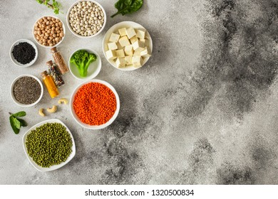 concept of healthy food (legumes, greens, spinach, lentils and other) superfood