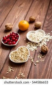 concept healthy for heart food on wooden background