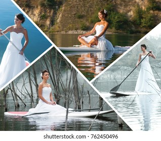 Concept healthy lifestyle. Nice dress. Collage with photo stand up paddle board.