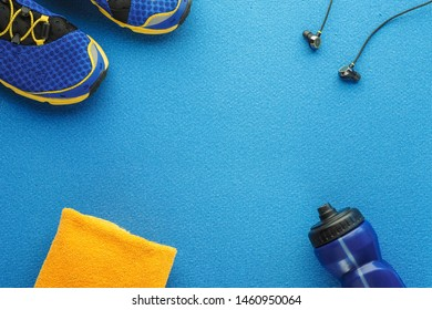 Concept healthy lifestyle, sport and diet. Top view, text space. Athlete's set.  Flat lay composition. Sports unisex, male and female fitness.