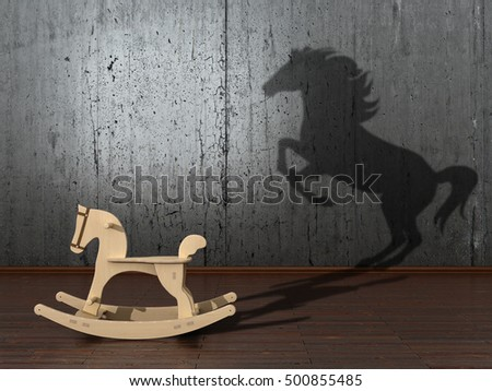 The concept of the hidden potencial.Toy horse in the room which casts a shadow on the wall. 3D illustration