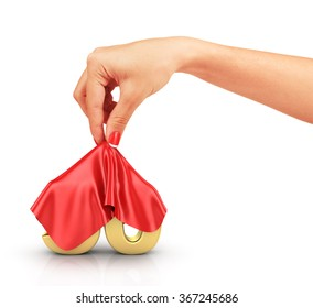Concept of hide percent. Gold percents hide under the cloak that removes a woman's hand. Surprise sale.