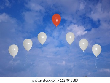Concept: Highlighting from the crowd. Balloons in the sky. 3d rendering