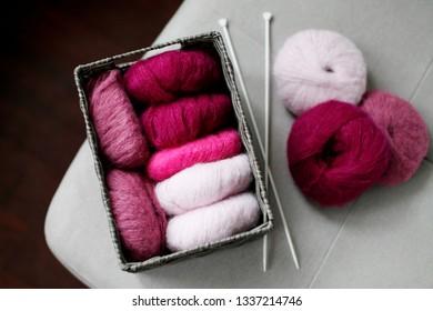 Concept of hobby and knitting, yarn closeup
