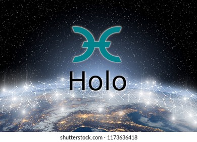 Concept of Holo coin Levitating  over world network, a Cryptocurrency blockchain platform , Digital money