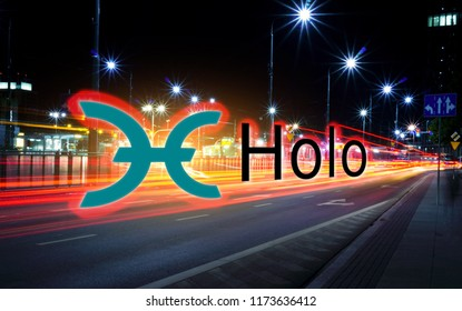 Concept of Holo coin moving fast  on the road, a Cryptocurrency blockchain platform , Digital mo