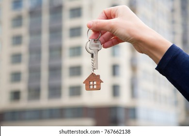 Concept of  home ownership. Real estate and property. Agent of rent