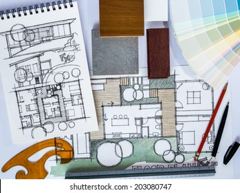 Concept of  home renovation with architecture /interior drawing and material sample background