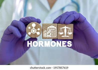 Concept of hormones. Medical hormonal therapy. Hormone balance.