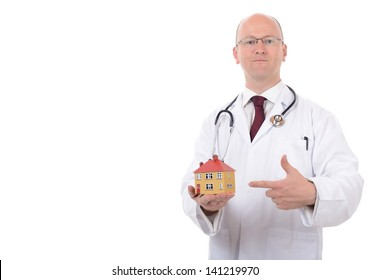 concept of house check up or house doctor isolated on white background