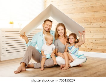 concept housing a young family. mother father and children in a new home