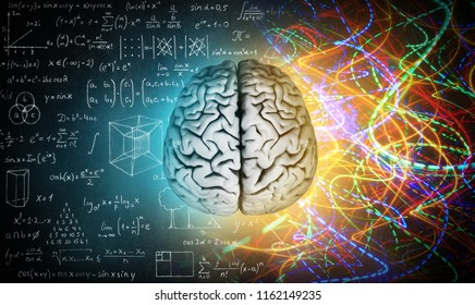 Il concetto del cervello umano. L'emisfero creativo destro contro l'emisfero logico sinistro. Educazione, scienza e medicina astratta sfondo.