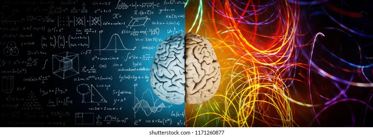 Photo of The concept of the human brain. The right creative hemisphere versus the left logical hemisphere. Education, science and medical abstract background.