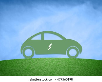 Concept hybrid car background. Green flat vehicle icon with electric symbol on blue sky.