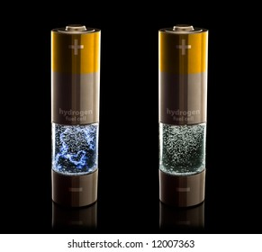 Concept for a hydrogen household fuel cells. AA batteries with compartment filled with bubbling water. Versions with and without an electrical discharge in the water