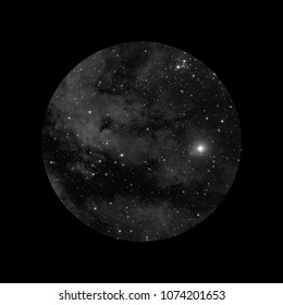 Concept of IC 1318 nebula (black and white) and its nearest stars, taken with refractor, in cygnus constellation, viewed through telescope.