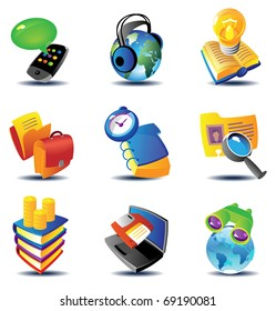 Concept icons for business communications and media. Raster version. Vector version is also available.
