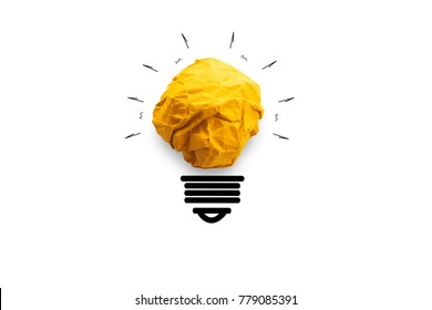 concept idea paper light bulb on white background