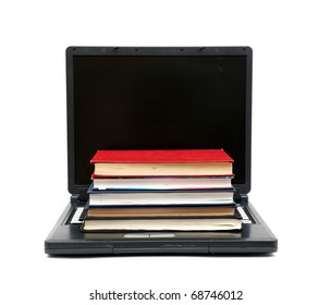 Concept illustrating evolution from books to computers isolated on white