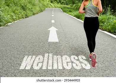 concept illustrating with running girl on the road the wellness and good health