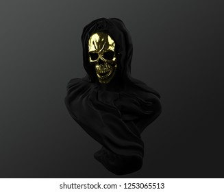 Concept illustration 3D rendering of veiled dark black scary figure with golden skull mask in dark sculpture art style.
