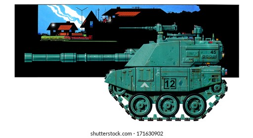 Concept illustration of a battle-scarred lightweight battle tank with a 120mm main gun, sloping and slab-sided armor, and a turret roof mounted machine gun, in an urban environment.