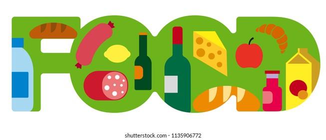concept illustration of food grocery banner for supermarket
