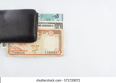 Concept illustration money US dollar, Nepalese rupee, Malaysian dollar with isolated white background