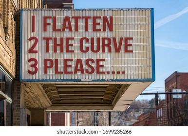 Concept illustration of movie cinema billboard with flatten the curve, please, message to help healthcare workers deal with the coronavirus epidemic.