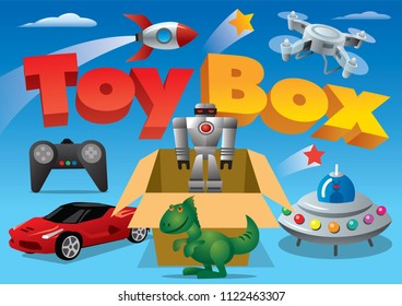 concept illustration of toy box for advertising banner