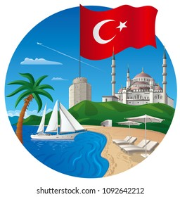 concept illustration of travel and resort vacation in turkey