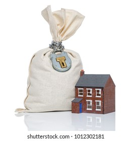 Concept image about house buying, insurance and finances involved in getting a mortgage, on a white background.