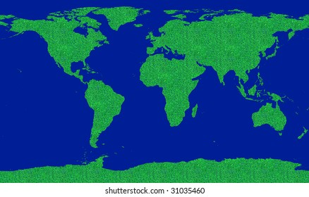 concept image about world environment saving. Map of the world filled by a green grass pattern. Go green!