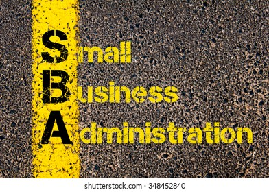 Concept image of Accounting Business Acronym SBA Small Business Administration written over road marking yellow paint line.