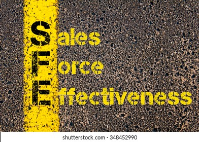 Concept image of Accounting Business Acronym SFE Sales Force Effectiveness written over road marking yellow paint line.