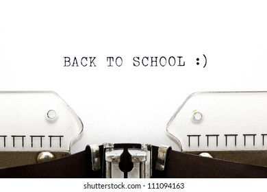 Concept image with Back To School printed on an old typewriter