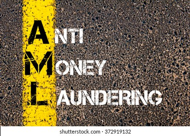 Concept image of Business Acronym AML Anti Money Laundering written over road marking yellow paint line
