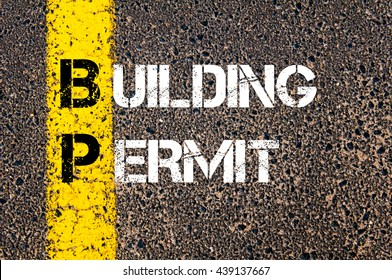 Concept image of Business Acronym BP Building Permit written over road marking yellow paint line
