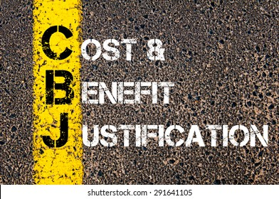 Concept image of Business Acronym CBJ as Cost and Benefit Justification written over road marking yellow paint line.
