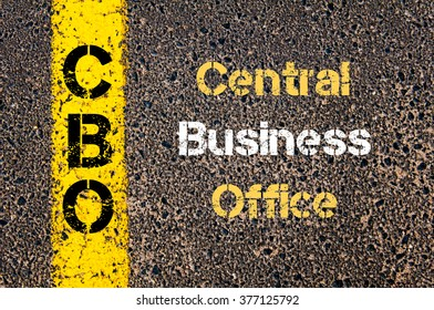 Concept image of Business Acronym CBO Central Business Office written over road marking yellow paint line