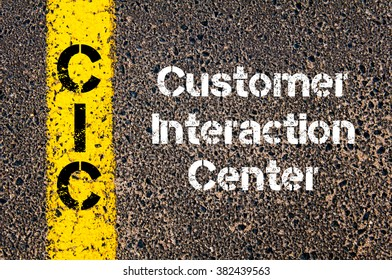 Concept image of Business Acronym CIC Customer Interaction Center written over road marking yellow paint line