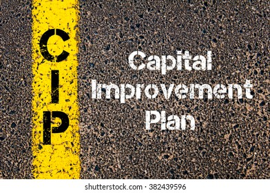 Concept image of Business Acronym CIP Capital Improvement Plan written over road marking yellow paint line