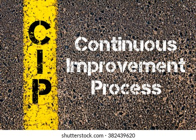 Concept image of Business Acronym CIP Continuous Improvement Process written over road marking yellow paint line