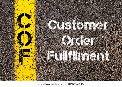 Concept image of Business Acronym COF Customer Order Fullfilment written over road marking yellow paint line