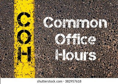 Concept image of Business Acronym COH Common Office Hours written over road marking yellow paint line